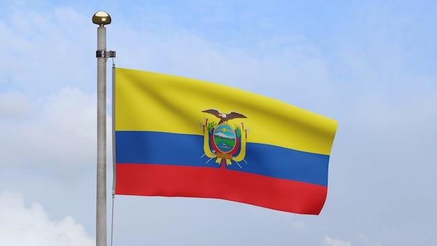 3d, bandiera ecuadoriana che ondeggia sul vento con cielo blu e nuvole. primo piano dell'ecuador che soffia banner, seta morbida e liscia. fondo del guardiamarina di struttura del tessuto del panno.
