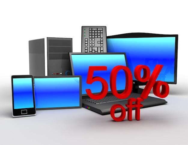 Concetto di elettronica 3d. concetto di vendita elettronica 50% di sconto