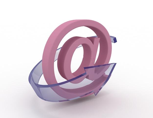 Icona e-mail 3d con freccia blu