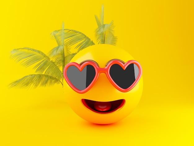 3d emoji con gli occhiali da sole, concetto di estate