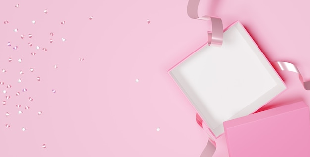 3d di scatole regalo aperte vuote per i tuoi prodotti per la festa della donna felice