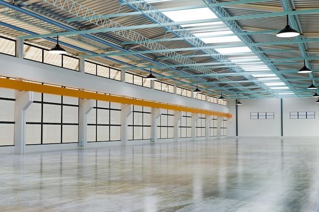 Magazzino vuoto 3d e deposito magazzino industriale, rendering illustrazione 3d