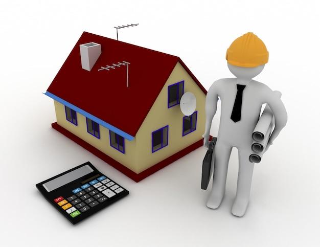 Ingegnere 3d con casa e calcolatrice. 3d reso illustrazione