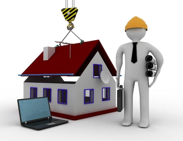 Ingegnere 3d con casa e laptop. 3d reso illustrazione