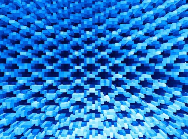 Fondo blu estruso dell'illustrazione dei blocchi 3d