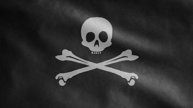 3d, trama del tessuto del teschio pirata con bandiera di ossa che ondeggia nel vento. simbolo del pirata calico jack per il concetto di hacker e ladro. bandiera realistica dei pirati nera su superficie ondulata
