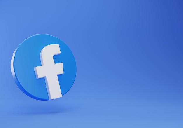 3d facebook logo galleggiante modello di design semplice minimale