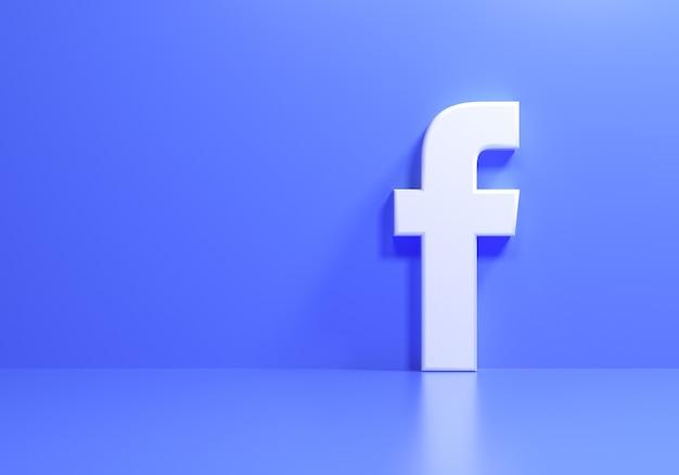 Logo facebook 3d su sfondo blu, applicazione social media. illustrazione di rendering 3d