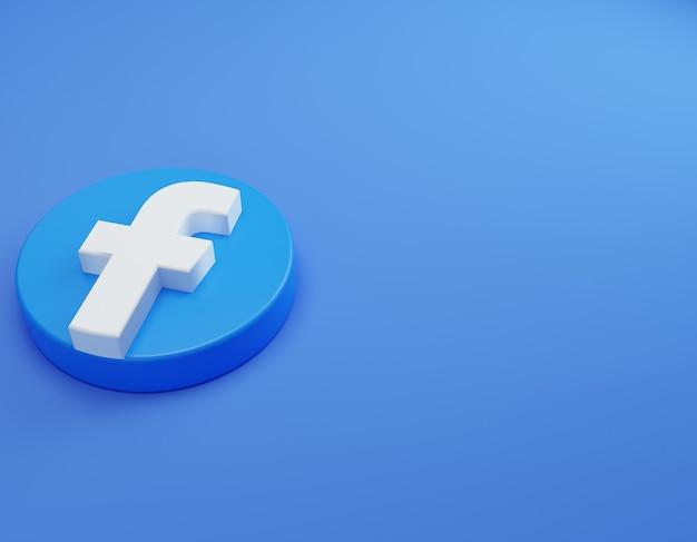 Logo 3d di facebook sul pavimento modello di design semplice e minimale