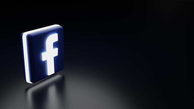 Icona del logo di facebook 3d con immagine di rendering di alta qualità di luci
