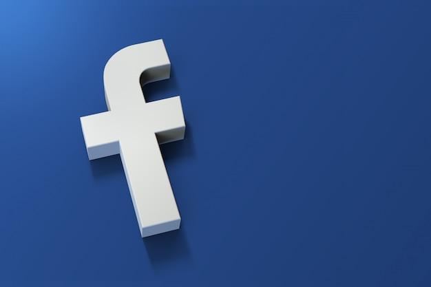 Logo facebook 3d minimalista con uno spazio vuoto