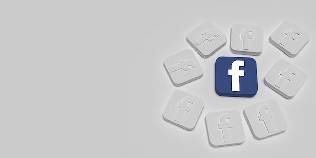 3d concetto di branding di marketing di facebook con il bianco