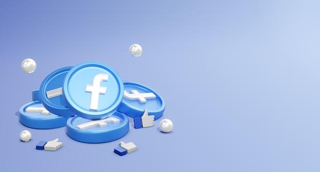 Loghi 3d dei social media di facebook con modello di moneta e icona mi piace