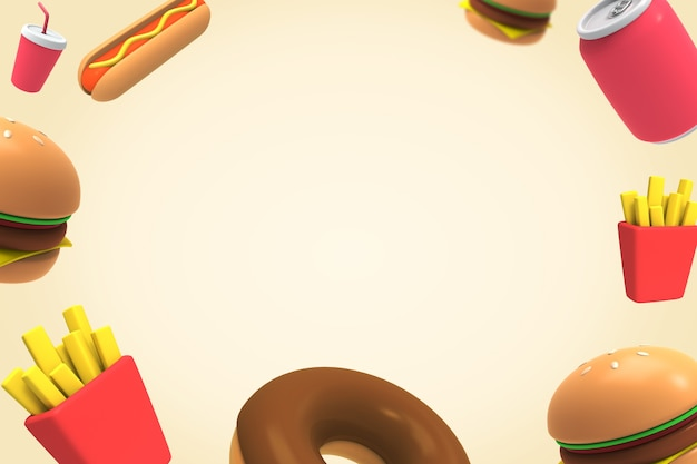 3d fast food background-03