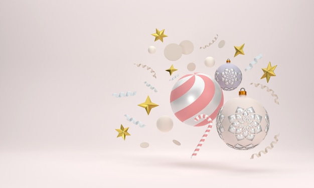 Celebrazioni festive 3d per la festa di natale e capodanno palle di natale nastri scatole regalo