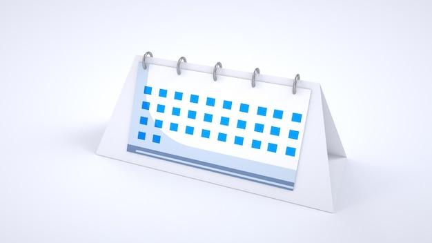 Statuetta 3d del calendario. calendario desktop regolare. calendario a spirale