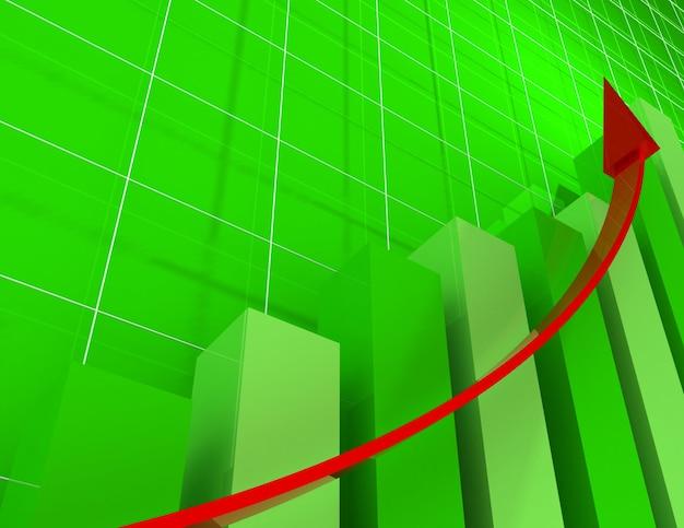 Statistica del grafico finanziario 3d. concetto di affari