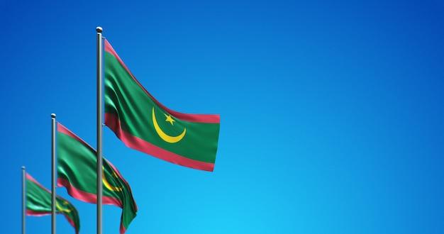Pennone 3d che vola mauritania nel cielo blu