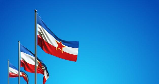 Pennone 3d che sventola la jugoslavia nel cielo blu