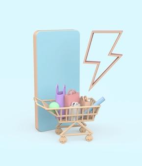 Illustrazione di vendita flash 3d. rendering 3d foto premium
