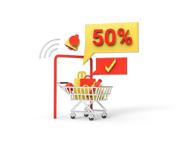 Illustrazione di vendita flash 3d con sconti fino al 50% foto premium. rendering 3d