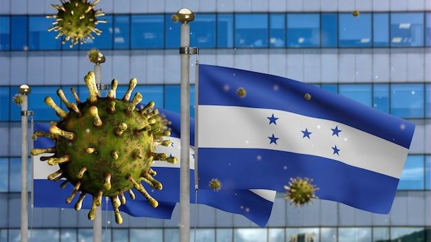 3d, coronavirus influenzale che galleggia sulla bandiera dell'honduras con una moderna città grattacielo. banner dell'honduras che sventola con la pandemia del concetto di infezione da virus covid19. insegna della trama del tessuto reale