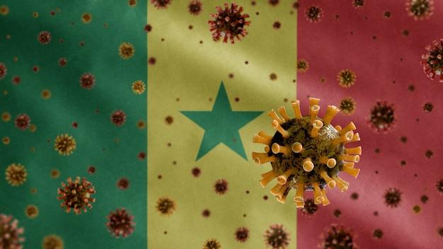 3d, coronavirus influenzale che galleggia sulla bandiera senegalese, un agente patogeno che attacca le vie respiratorie. modello del senegal che fluttua con la pandemia del concetto di infezione da virus covid19