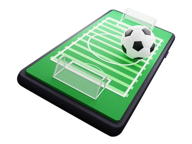 Campo da calcio 3d sullo schermo dello smartphone con pallone da calcio e spazio di copia.