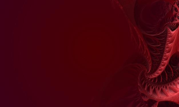 Superficie frattale 3d, colore rosso, con posto per il testo