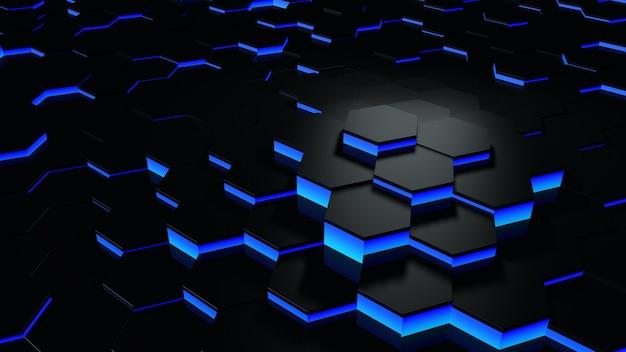Rendering 3d futuristico blu e nero astratto esagono a nido d'ape sfondo casuale a livello di superficie con illuminazione e ombra. angolo di inclinazione