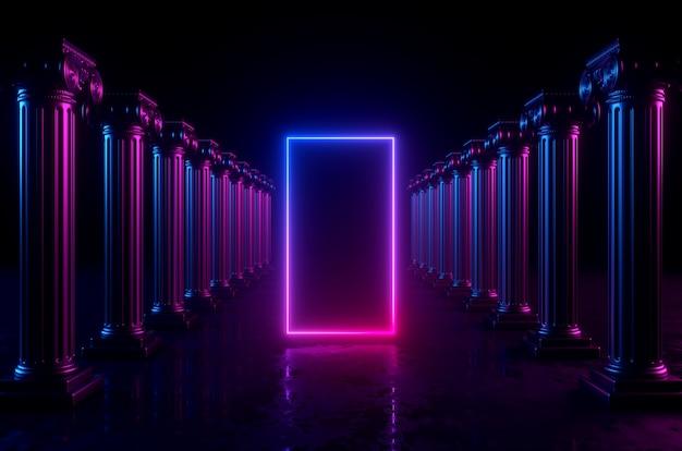 Sfondo geometrico 3d con colonne e luci al neon incandescente. cornice rettangolare vuota con spazio di copia.