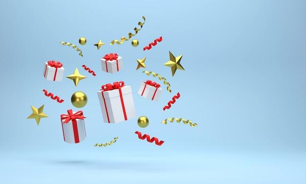 3d. confezioni regalo e palline d'oro celebrazioni di natale su sfondo blu.