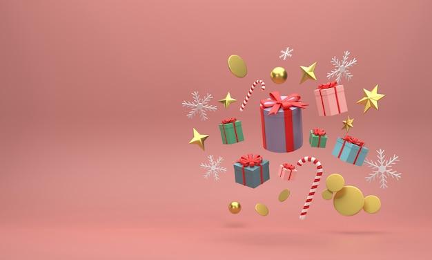 3d. confezioni regalo e palline dorate celebrazioni festive di natale su sfondo rosso.