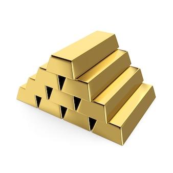Lingotti d'oro 3d isolati su priorità bassa bianca con il percorso di residuo della potatura meccanica.