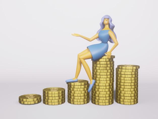Monete d'oro 3d denaro, soluzioni commerciali per investimenti.