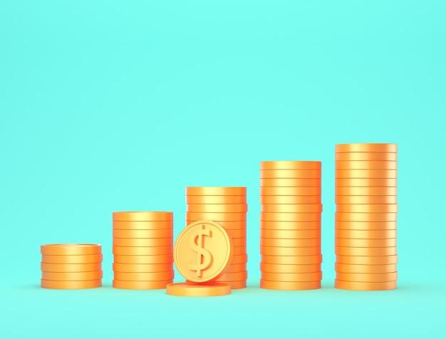 Pila di monete d'oro 3d sull'azzurro