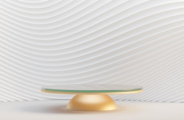 Podio di vetro dell'oro 3d sulla parete bianca dell'onda della curva. rendering dell'illustrazione 3d.