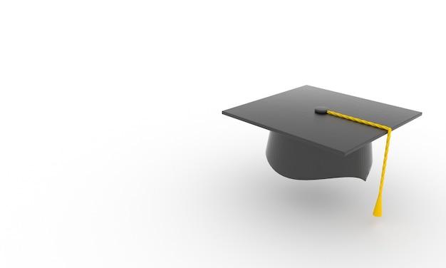 Cappello di laurea 3d sfondo cappello universitario su sfondo bianco istruzione accademica laurea triennale