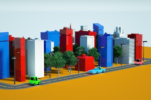 Illustrazione grafica 3d di un modello di città modello 3d di una città multicolore su un bianco isolato