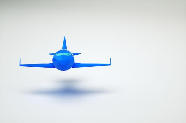 Modello grafico 3d di un aeroplano blu nell'aria. aeroplano su uno sfondo bianco. computer grafica. aereo blu isolato su priorità bassa bianca