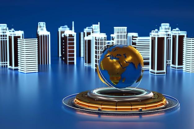 Grafica 3d di una città con grattacieli, nel mezzo di un punto di riferimento sotto forma di terra, pianeta, globo. oggetti 3d isolati, grafica 3d. grattacieli della città, punto di riferimento, centro città