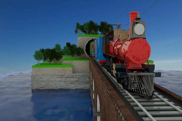 Grafica 3d, illustrazione di un treno con vagoni su un ponte ferroviario. treno merci, ferrovia, treno lascia il tunnel