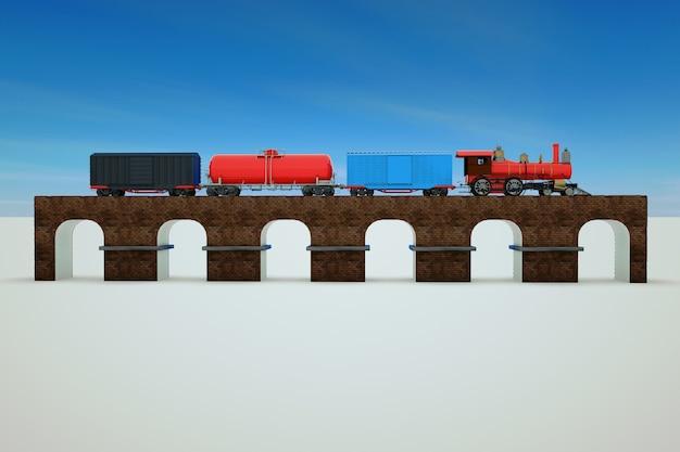 Grafica 3d, modello di un treno merci. il treno con le auto va in treno. allenati sui binari.