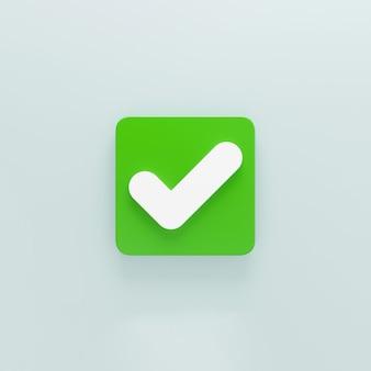 3d segno di spunta verde o segno di spunta isolato su sfondo grigio con ombra 3d rendering