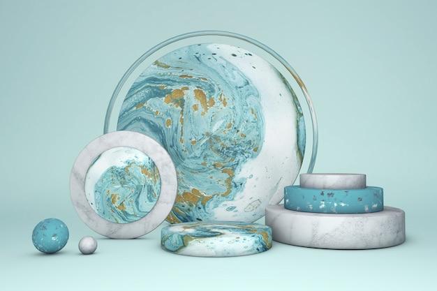 Podio rotondo del cerchio di marmo verde 3d contro fondo pastello. vetrina scenica concettuale per nuovo prodotto, vendita promozionale, banner, presentazione, cosmetico.