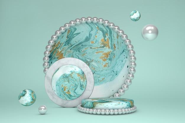 Podio rotondo del cerchio di marmo verde 3d contro fondo pastello. piedistallo con peal. vetrina del palco della scena concettuale per nuovi prodotti, presentazioni, cosmetici.