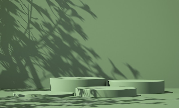 Display podio prodotto verde 3d con sfondo verde e ombra dell'albero, sfondo mockup prodotto estivo, illustrazione rendering 3d