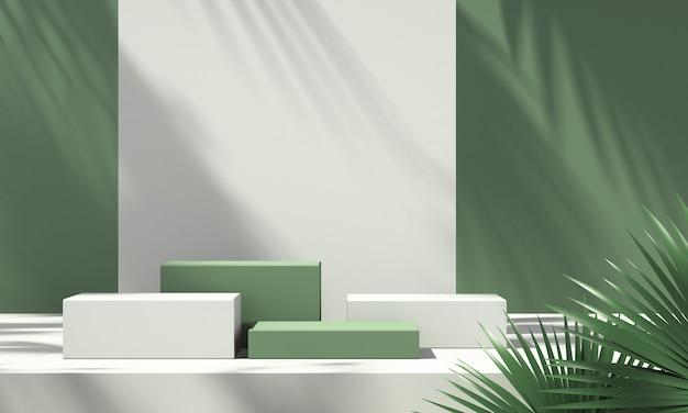 Display podio prodotto verde 3d con sfondo verde e bianco e ombra dell'albero, sfondo mockup prodotto estivo, illustrazione rendering 3d