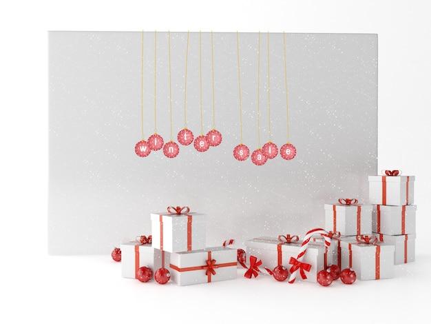 Cartolina d'auguri di saluto 3d con i contenitori di regali e la decorazione di natale