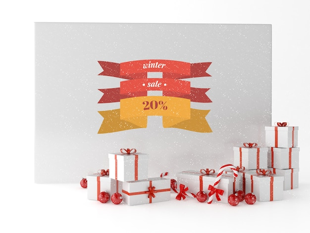 Cartolina d'auguri 3d di saluto con i contenitori di regali